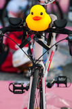 Ducky doll. On the hand of bicycle stock image