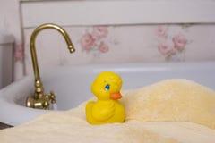 Ducky sul tovagliolo Fotografie Stock