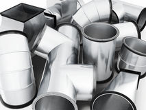 Duct fittings closeup. 3d rendering.  Royalty Free Stock Images