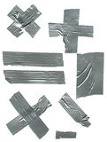 Duct tape. Pieces of duct tape in varying sizes, shapes, and orientations are shown here against a white background for easy removal and use Royalty Free Stock Photo