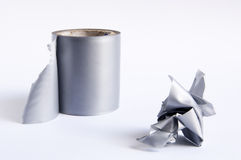 Duct Tape. Roll of duct tape with torn off section in a rough ball Stock Photo