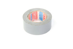 Duct tape roll silver repair reel on white Royalty Free Stock Photography