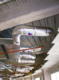 Ductwork. Industrial Office Ceiling Ductwork in place stock image