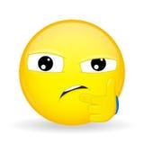 Dudar emoji Emoción de la desconfianza que sospecha el emoticon Imagen de archivo