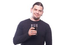 Dude with beer glass. On white background, studio shot Stock Photography