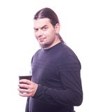 Dude with beer glass. On white background, studio shot Royalty Free Stock Image