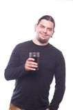 Dude with beer glass. On white background, studio shot Royalty Free Stock Photography