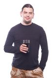Dude with beer glass. On white background, studio shot Stock Images