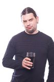 Dude with beer glass. On white background, studio shot Royalty Free Stock Photo