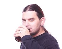 Dude drinking beer Royalty Free Stock Photography