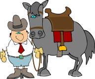 dude hans häst royaltyfri illustrationer