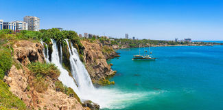 Duden waterfall in Antalya. Lower Duden waterfall Karpuzkaldiran waterfall. Lara, Antalya, Turkey Royalty Free Stock Photo