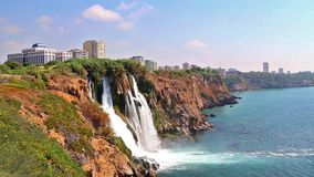 Duden waterfall in Antalya Turkey stock video footage