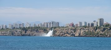 Duden Waterfall as seen from Lara Beach in Antalya, Turkey Royalty Free Stock Photo