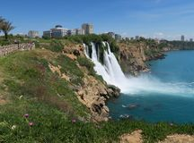 Duden Waterfall with the Beautiful Park Nearby Royalty Free Stock Images