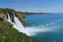 Duden Waterfall and the Mediteranian Sea in Antalya, Turkey Royalty Free Stock Photos