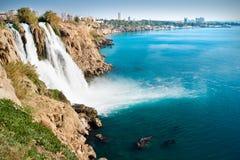 Duden waterfalls. Beautiful lower Duden waterfalls in Antalya province, Turkey Royalty Free Stock Photo