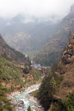 Dudh Kosi river valley, Everest trail, Nepal. Dudh Kosi valley, Everest trek, Himalaya, Nepal Stock Photos