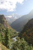 Dudh Kosi Valley, Himala. View looking doen the Dudh Kosi Valley with the glacial Dudh Kosi river flowing through it, Himalaya Region, Nepal Royalty Free Stock Photos