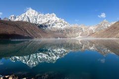 Dudh pokhari Gokyo lake and Phari Lapche peak Royalty Free Stock Photo