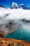 Dudh Pokhari lake, Gokyo, Arakam Tse peak, Chola Tse peak and Ngozumba glacier - way to Cho Oyu base camp Royalty Free Stock Images