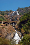 Dudhsagar Waterfall. And railroad bridge in Goa/India Stock Photography