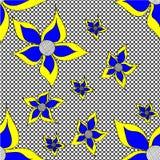 Dudling, das schwarze Kreise mit großen blauen Blumen zeichnet Lizenzfreies Stockbild