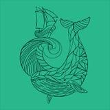 Dudling för hav som drar dendrog valvågen Stock Illustrationer