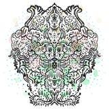 Dudling Ilustração abstrata das linhas criadas doodle Imagens de Stock