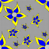 Dudling que dibuja círculos negros con las flores azules grandes Imagen de archivo libre de regalías