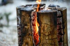Dudniący drzewny fiszorek na ogieniu z dymny nadchodzącym out Obraz Stock