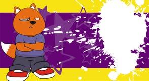 Dudniący mały pyzaty lisa dzieciaka kreskówki wyrażenia tło Obraz Royalty Free