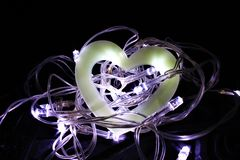 Dudniący serce w gniazdeczku Czarodziejscy światła Obraz Royalty Free