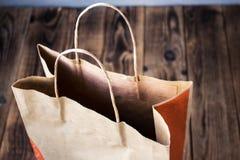 Dudziarz torba na drewnianym bacground Obrazy Stock