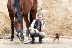 Dueño joven del adolescente que se sienta cerca de su caballo de bahía Imagenes de archivo