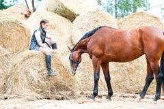 Dueño joven del adolescente que se sienta cerca de su caballo rojo Fotografía de archivo libre de regalías