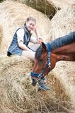 Dueño joven del adolescente que se sienta cerca de su caballo rojo Imagen de archivo