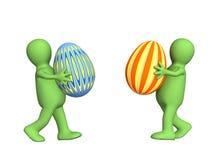 Due 3d persone - burattini, uova di Pasqua di trasporto illustrazione di stock