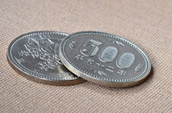 Due 500 monete del giapponese di Yen Immagine Stock