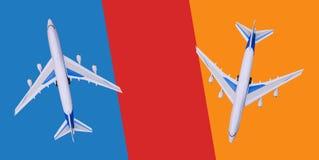 Due aerei passeggeri volano nelle direzioni differenti Vendita e prenotazione dei biglietti, buoni turistici, giri Giri caldi cop immagini stock