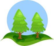 Due alberi di Natale verdi Fotografie Stock