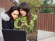 Due allievi che studing per mezzo del calcolatore immagine stock