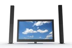 Due altoparlanti e un plasma TV Fotografia Stock