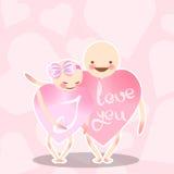 Due amanti dentellano il cuore Il ragazzo abbraccia una ragazza con un arco Caratteri divertenti di vettore Congratulazioni il gi royalty illustrazione gratis