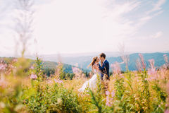 Due amanti - giovane bella ragazza in vestito bianco e nel suo uomo bello, colpo sul campo di erba Fiori del prato a priorità alt Immagini Stock