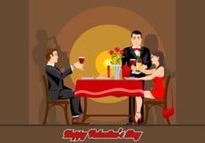 Due amanti hanno una sera romantica in un ristorante illustrazione di stock