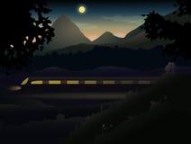 Due amanti nelle colline e nelle montagne osservando Ni illustrazione vettoriale