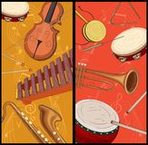 Due ambiti di provenienza con le note e gli strumenti musicali illustrazione vettoriale