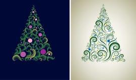 Due ambiti di provenienza dell'albero di Natale Immagine Stock Libera da Diritti