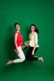 Due amiche castane che posano sul fondo verde Fotografia Stock Libera da Diritti